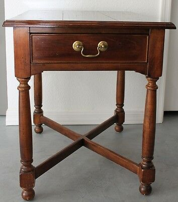 "Sherrill Occasional CTH Dark Wood End Table Smooth Finish Brass 21"" x 26"" x 26"""