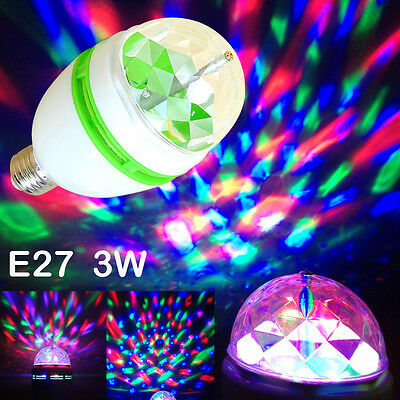 LED Rotating Lamp Christmas E27 3W RGB Halloween Disco Party Club Stage Light