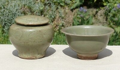 Two Chinese Celadon Glazed Vessels, a Jar and Cover & Bowl, Song/Yuan