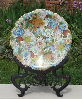 A Large Chinese Cloisonne Millefleur Decorated Charger, With Wood Stand, 20th C