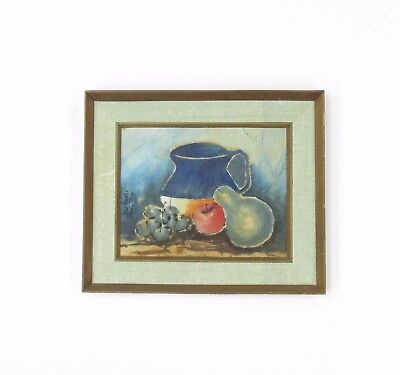 Mid Century Vtg Signed Japanese Watercolor Still Life Signed Painting On Fabric