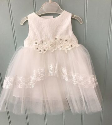 Baby girls white christening dress gown 6-9-12-18-24 months 1-2 years new ivory