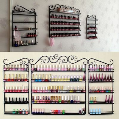 5 Tier Metal Wall Mounted Nail Polish Rack Organizer Display Holder Shelf Decor
