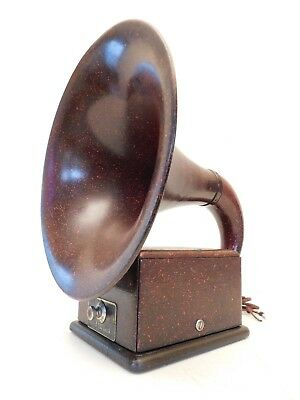 VINTAGE OLD 1920s ANTIQUE DICTOGRAPH RARE RED BELL RADIO HORN SPEAKER & WORKS