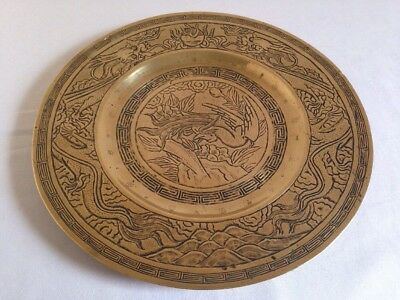 ANTIQUE CHINESE EARLY 20th CENTURY DECORATIVE HEAVY BRASS DISH-SIX CHARACTERS