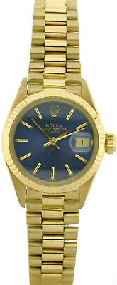 Rolex Oyster Perpetual Datejust 750/18k Ref. 6917 Vollgold Lady Watch blue Dial