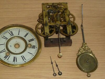Antique American striking mantel clock movement hands pendulum dial for spares
