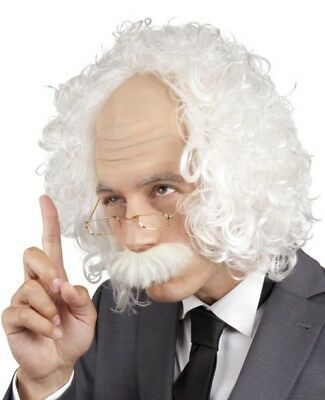 Mens Professor Mad Scientist Old Man + Glasses Fancy Dress Costume Outfit Wig
