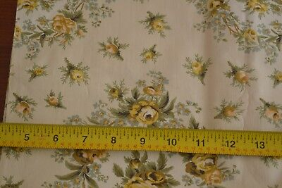 """36/"""" Wd By 1//2 Yd Blue on Yellow Fancy Cotton Voile Vintage 1940's-60's M7744"""