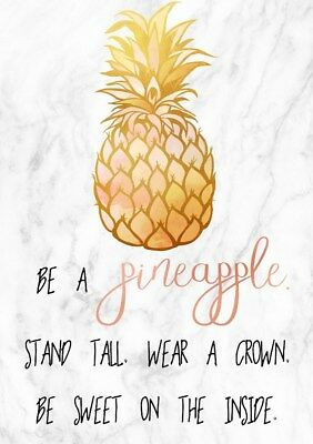 Be a Pineapple. Scandi Style Marble Background Poster Premium Simple Print A4-A1