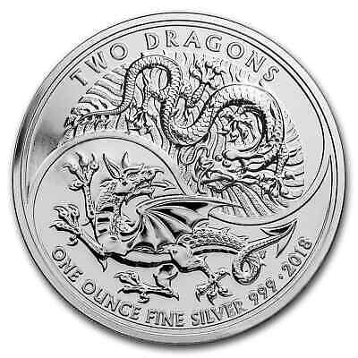2018 Great Britain 1 oz Silver Two Dragons BU - SKU#162487