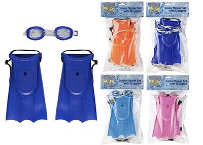 Kids Children Junior Swimming Diving Snorkeling Adjustable Flippers Goggle Set