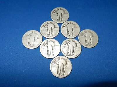 Lot of 8 No Date Standing Liberty Silver Quarters D & S Mint Marks