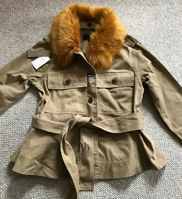 J. Crew cropped khaki jacket trench coat faux fur collar S small NWT new