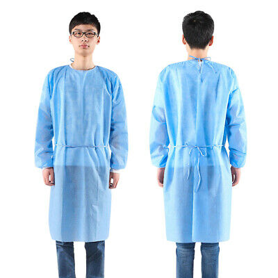 5Pcs Disposable Dustproof Isolation Gown Blue Protection Gown Clothing Suit Hot