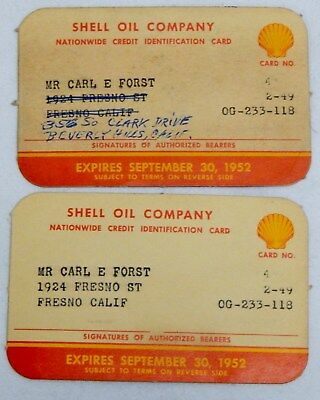 1949 Shell Oil Co. Credit Cards
