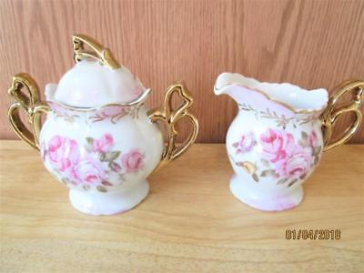 Vintage Lefton White China With Pink & Yellow Roses Creamer & Sugar Bowl Japan