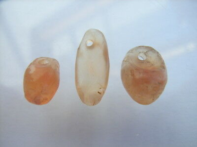 3 Ancient Neolithic Amulets, Carnelian, Stone Age, VERY RARE! TOP!