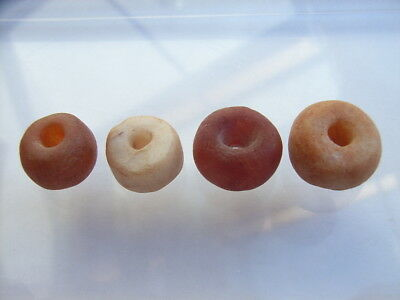 4 Ancient Neolithic Carnelian, Quartz Beads, Stone Age, VERY RARE!  TOP !