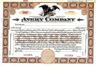 Avery Company of Galesburg, Illinois (Farm Tractors) SPECIMEN stock certificate
