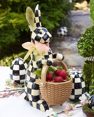 """MacKenzie-Childs Courtly Check Easter Rabbit Figure with Basket NIB 16"""" Tall"""