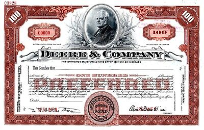 Deere & Company of Illinois early 1900's SPECIMEN stock certificate - John Deere