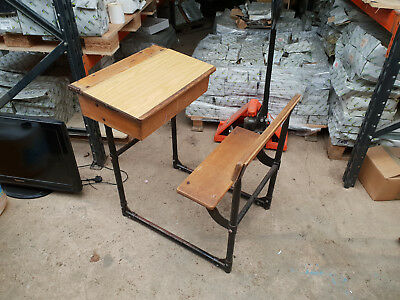 Vintage Childrens School Desk  -  Chair Cast Iron Base Solid Wood Antique Childs
