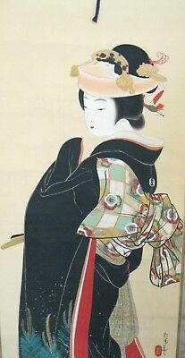 """Antique Japanese Hanging Scroll~Signed~Bride~Silk/paper~In Box~81"""" L"""