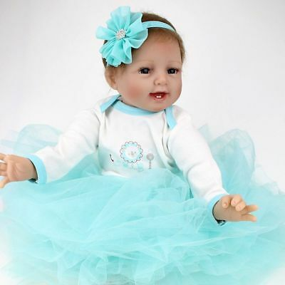 22inch Vinyl Silicone Reborn Doll Real Life Like Newborn Baby Gift Dolls+Dress
