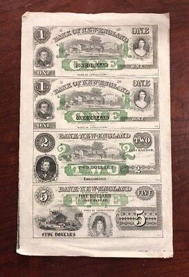 Uncut Sheet Of 1860's Currency Bank Of New England $1 $2 & $5 East Haddam