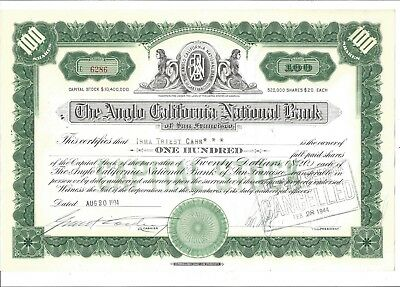 The Anglo California National Bank......1934 Stock Certificate