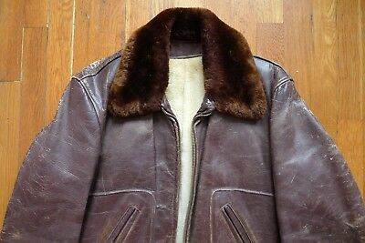 Vintage 1950/60s Brown Horsehide Leather Jacket Distressed Sherpa Lining USA M/L