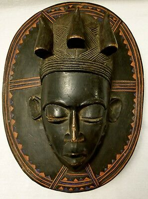 Baule Cote D'ivoire Moon Mask Tribally Used
