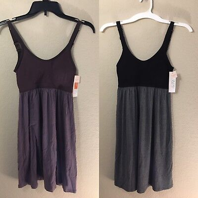2 Gilligan O'Malley Gray Plum Wink Lavender Sleepwear Camisole Removable Pads XS