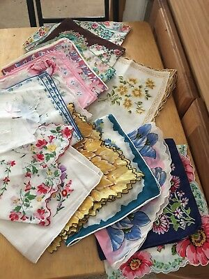 LOT of 18 Vintage  floral  handkerchief s