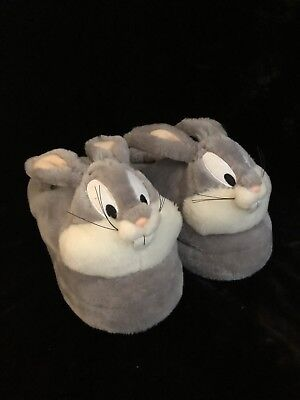 Warner Bros Bugs Bunny Looney Tunes Furry Slippers M 7-8 Brothers