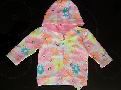 Gorgeous Little Girls Fluorescent FLOWER Hoodie Size 0-3 Months NWT
