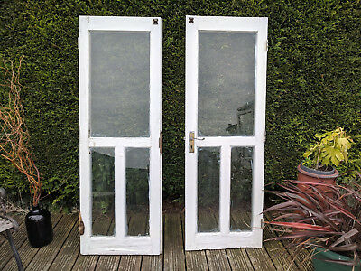 Small Vintage French Windows Doors Architectural Salvage White Wooden Repair
