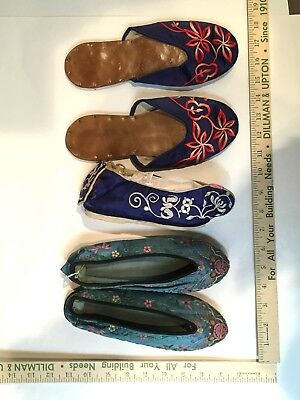 LOT of 19th/20th C Antique Chinese Silk Embroidered Shoes Lotus Foot and Slipper