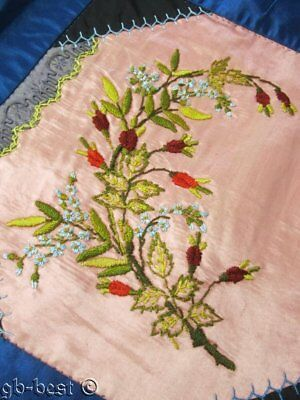 Antique c 1880s Victorian Crazy QUILT Beautiful Embroidery!