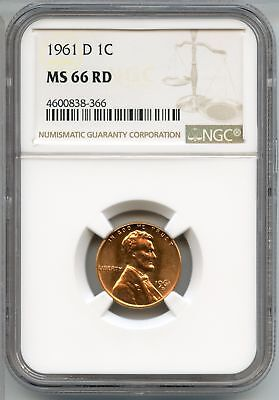 1961-D Lincoln Memorial Cent NGC MS 66 RD - Large Date - Denver Mint - AR466