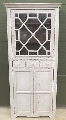 Distressed Part-Glazed Slim Cupboard Cabinet Shabby Chic In The Antique Style