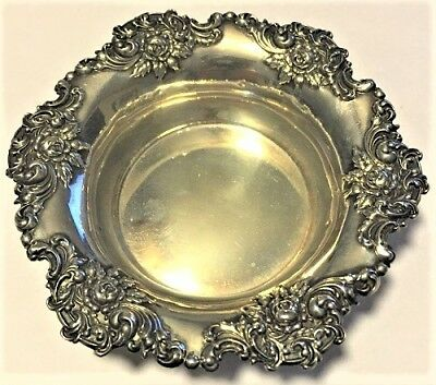 Antique Woodside Sterling Co. Ny Sterling Silver Floral Repousse Bowl 1896-1925