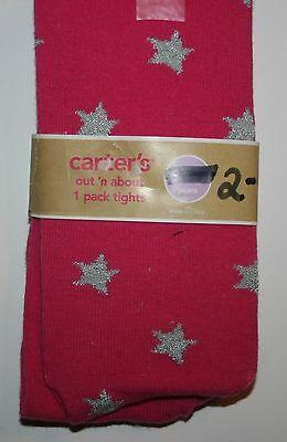 New Carter's Girls 2 - 4 year Tights Pink with Silver Star Print NWT