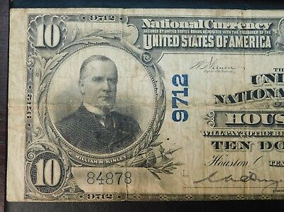 Series 1905 National Currency HOUSTON $10 Note !!  No Reserve Auction