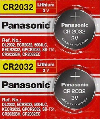 2 x SUPER FRESH Panasonic ECR2032 CR2032 Lithium Battery 3V Coin Cell Exp. 2027