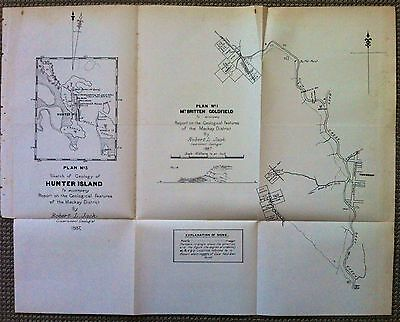 Original Map Mount Britten Gold Field Mackay Queensland 1887 Robert Logan Jack
