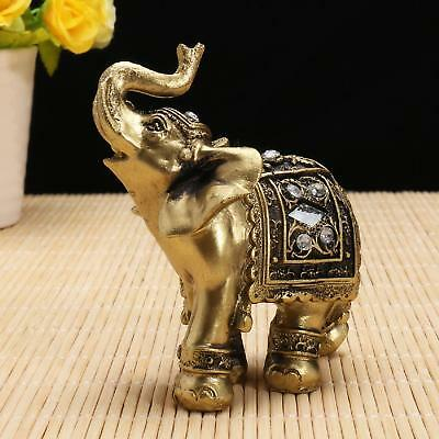 Feng Shui Resin Elephant Trunk Statue Lucky Wealth Figurine Home Decoration US