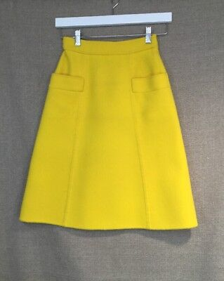 Boutique Valentino Vintage Yellow 100% Wool Skirt Size 4 Vgc