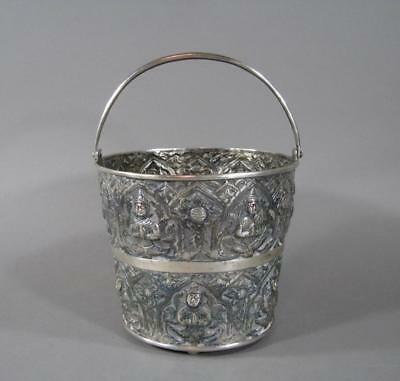 Nice Antique Siamese Thai Repousse Silver Ice Bucket, Hallmarked, 390 Grams